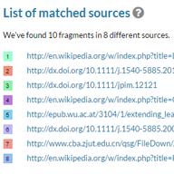 Lista delle corrispondenze con le fonti